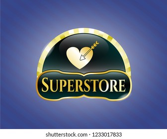 Shiny badge with love icon and Superstore text inside