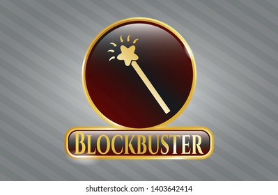 Shiny badge with magic stick icon and Blockbuster text inside