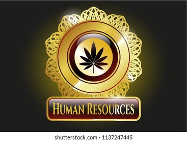 Shiny badge with marijuana leaf icon and Human Resources text inside