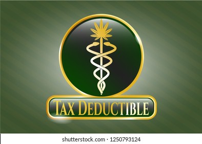Shiny badge with medical marijuana icon and Tax Deductible text inside