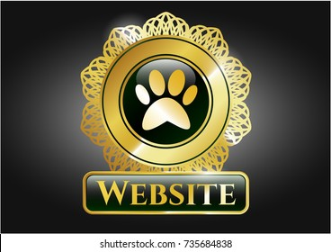 Shiny badge with paw icon and Website text inside