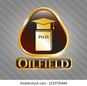 Shiny badge with Phd thesis icon and Oilfield text inside
