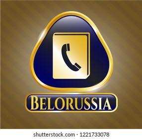 Shiny badge with phonebook icon and Belorussia text inside