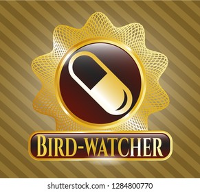Shiny badge with pill icon and Bird-watcher text inside