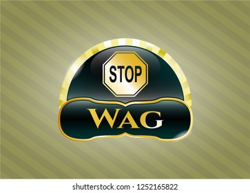 Shiny badge with stop icon and Wag text inside