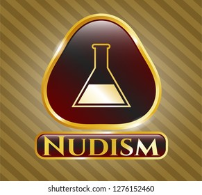 Shiny badge with test tube icon and Nudism text inside