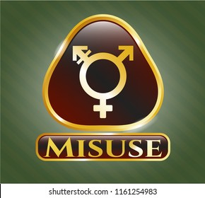 Shiny badge with transgender icon and Misuse text inside