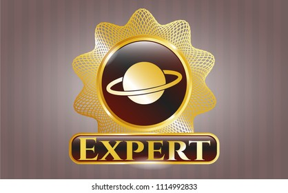 Shiny badge wit Shiny badge with planet, saturn icon and Expert text insideh planet, saturn icon and Expert text inside