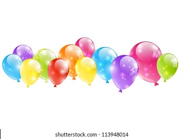 Shiny balloon border on white