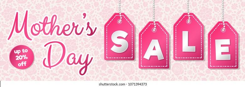 Shiny banner for Mother's Day Sale. Vector.