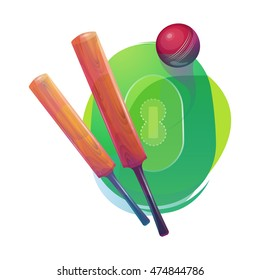 Shiny bats and red ball for Cricket on colorful abstract background. Creative glossy Bats with Ball background for Cricket Championship concept.