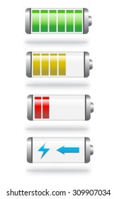 shiny batteries with different charge levels and in different colors