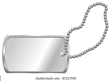 Shiny Blank Metallic Identification Plate - Dog Tag Isolated on White
