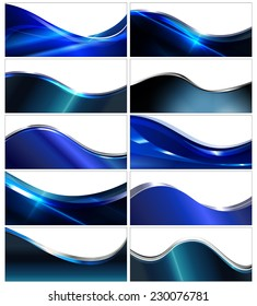 Shiny blue banner set, abstract wavy backgrounds with white copyspace area