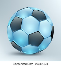 shiny blue football with black polyhedra on a light background