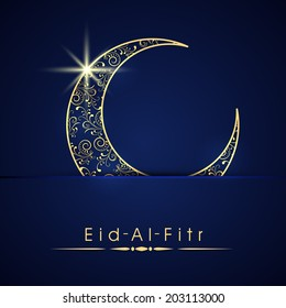 Good Kid Backyard Party Eid Al-Fitr Decorations - shiny-blue-golden-crescent-moon-260nw-203113000  Best Photo Reference_448569 .jpg
