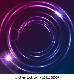 Shiny blue purple glowing neon colorful circles abstract background. Modern luminous vector circular design