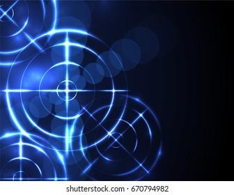 Shiny blue radar, target, shooting range on black background. Creative design vector templates.