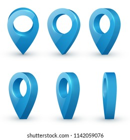 Shiny blue realistic map pointers vector set in various angles. Map pointer 3d pin. Location symbols.