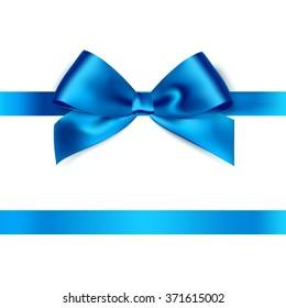 Shiny blue satin ribbon on white background. Vector