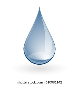 Shiny Blue water drop on white. Vector illustration