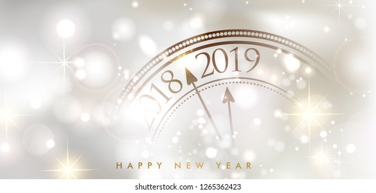 shiny bokeh New Year 2019 poster with clock and lights. Vector background. - Vector