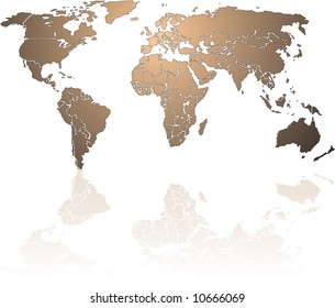 Shiny bronze World map. Each country is a separate shape and named by the country name. The continents are grouped.