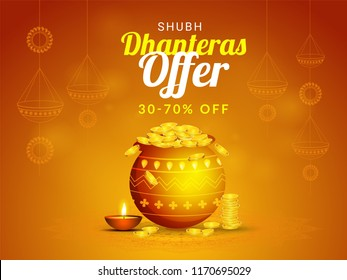 Shiny brown sale banner design with 30-70% discount offer and a coin pot on ornamental background for Dhanteras festival celebration.