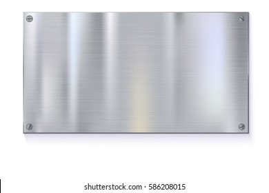 Shiny brushed metal plate banners on white background Stainless steel background, vector illustration for you