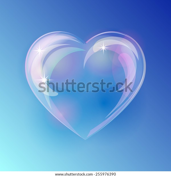 Shiny bubble heart on blue background. Vector illustration