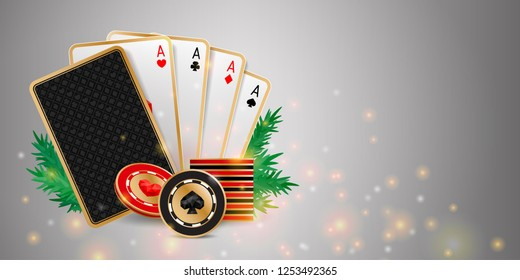 Shiny Christmas casino banner with playing cards, chips and fir branches on grey background. Holiday poker hand