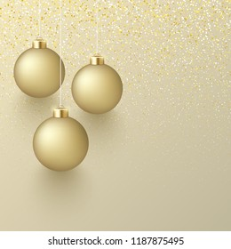 Shiny Christmas and New Year greeting card with golden 3d Christmas balls. Festive decoration. Vector background.