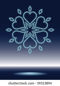 shiny christmas snowflake made from sparkling water-drops