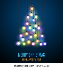Shiny Christmas tree. Christmas tree from the garland. Glowing Lights - Colorful Fairy Lights Background. Christmas Lights Background. template design. Vector illustration