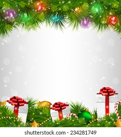 Shiny Christmas tree with gift boxes and led Christmas lights like frame on grayscale background