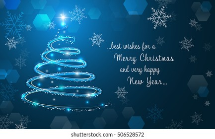 Shiny Christmas tree and snowflakes on blue winter background. Merry Christmas and Happy New Year wallpaper. Vector illustration.