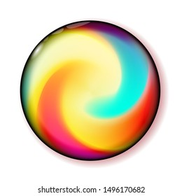Shiny circle multicolor button for holiday and web design, business presentation. Bright Ball 3D glass with abstract spiral shape inside. Swirl play vector illustration. Eps10.