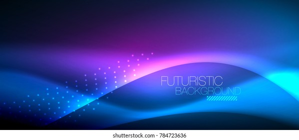 Shiny color smooth elegant neon wave. Vector background template