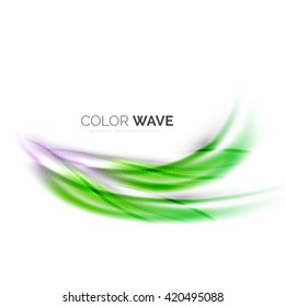 Shiny color wave isolated on white, lines with light effects