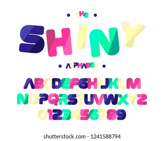 Shiny colorful font. English alphabet and numbers.