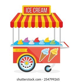 Shiny colorful ice cream cart vector illustration. Awesome creative concepts, icons, elegant stylish design graphic elements,beautiful art. Isolated on white background.
