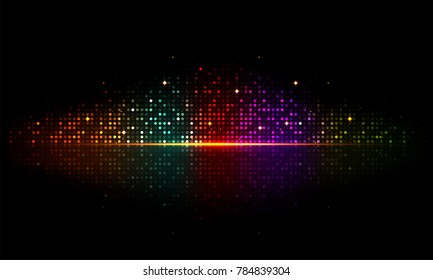 Shiny colorful musical beats on glossy black backgrond.