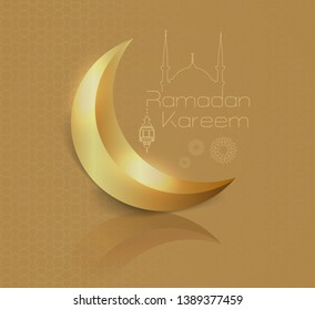 """shiny crescent image on a gold background and silhouette of a linear mosque and minimal """"ramadan kareem"""" design concept.  vector illustration.  greeting card."""