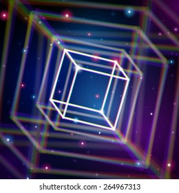Shiny cube structure with color aberrations in space