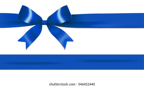 Shiny dark, navy blue ribbon bow isolated on white background with copy space. For using special days.
