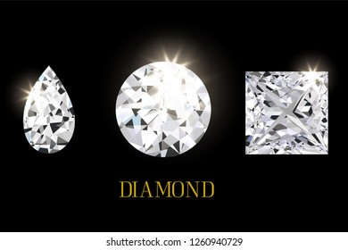 Shiny diamond gems on black background. concept for jewelry and luxury template in vector illustrative.