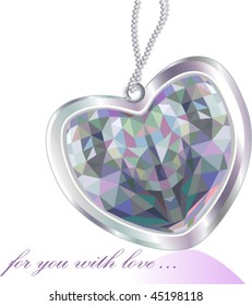 Shiny diamond pendant heart greeting card