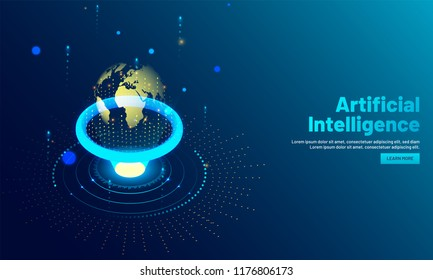 Shiny Earth globe illustration between emerging rays, global deep learning system, Artificial Intelligence (AI) concept based landing page design.