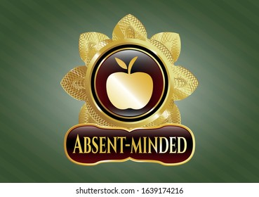 Shiny emblem with apple icon and Absent-minded text inside