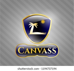 Shiny emblem with beach icon and Canvass text inside